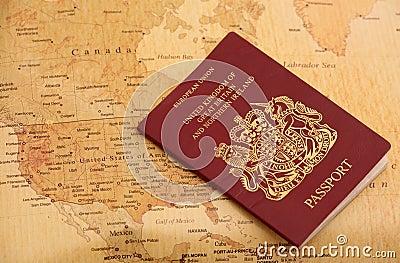 EU Passport on a world map