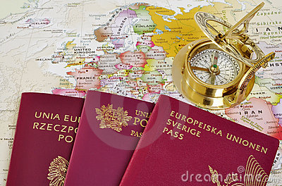 EU passports on a map