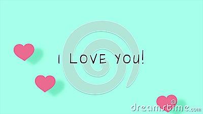 Eu te amo anima??o bonito dos desenhos animados com cora??es para Valentine Day ilustração stock
