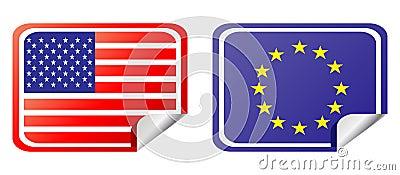 Eu and usa label flag