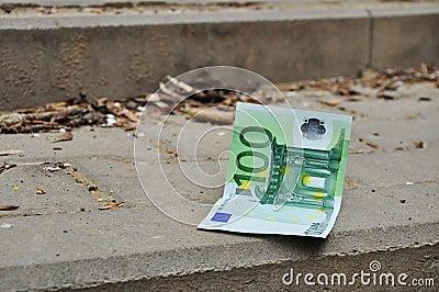 Eur banknote, money lose