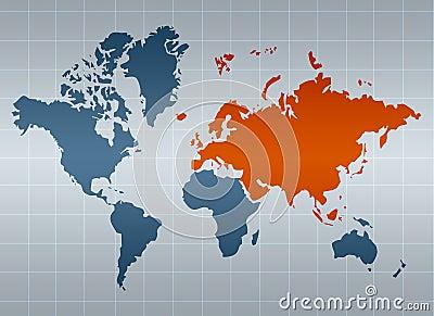 Eurasia on map of the world
