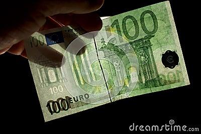 Euro 100 znak wodny