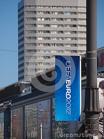Euro 2012 Banner in Warsaw, Poland Editorial Photography