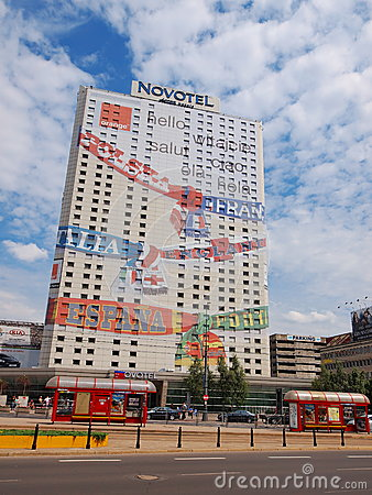 Euro 2012 Banner in Warsaw, Poland Editorial Image