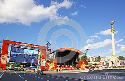 EURO 2012 Fan Zone in Kyiv Editorial Photography