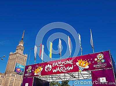 Euro 2012 Fanzone in Warsaw, Poland Editorial Stock Photo