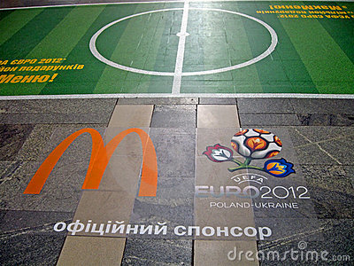 EURO 2012 football emblem on the floor in Kiev, Editorial Stock Photo