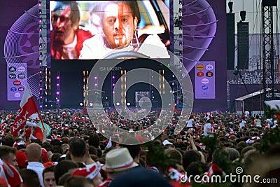 Euro 2012 fun zone in Warsaw Editorial Photo