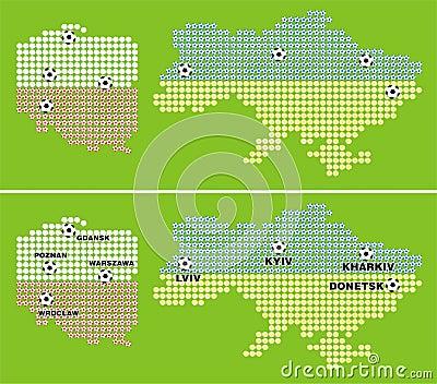 Euro 2012 - map of polish and ukrainian