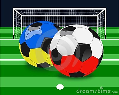 Euro 2012 Soccer Balls Background Editorial Stock Photo