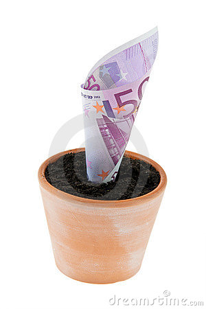 Euro-Anmerkung im Blumenpotentiometer. Zinssätze, Wachstum.