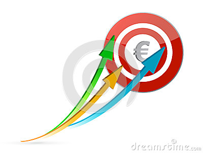 Euro arrows pointing target