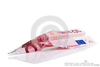Euro avion de billet de banque