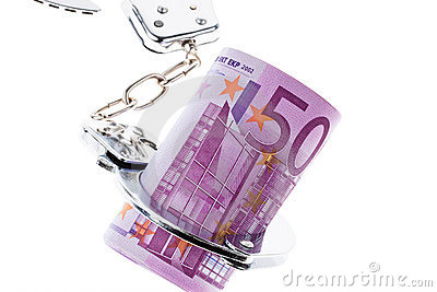 Euro bank note with handcuffs