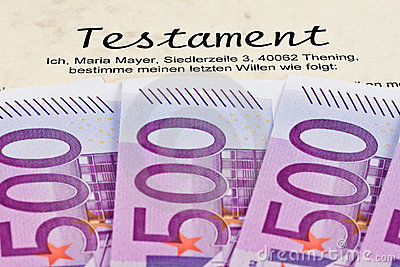 Euro bank notes and wills