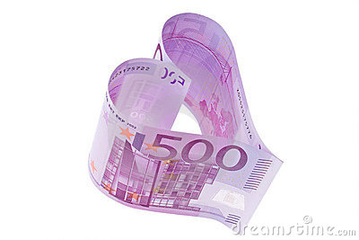 Euro banknote in a heart shape