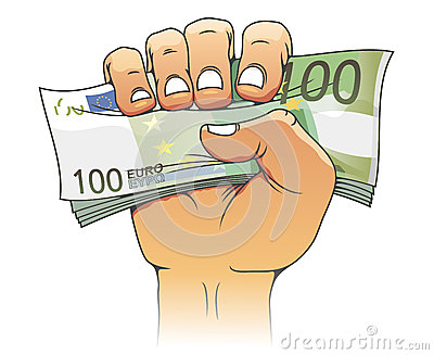 Euro banknote in people hand