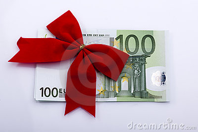Euro banknote with red ribbon