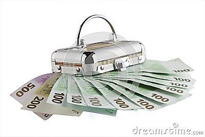 Euro banknotes and box