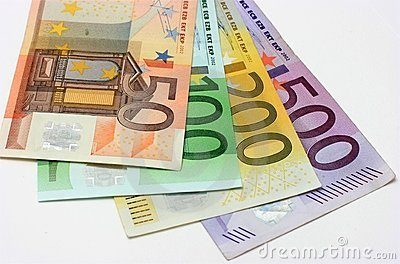 Euro banknotes, close-up