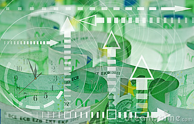 Euro banknotes closeup and graph