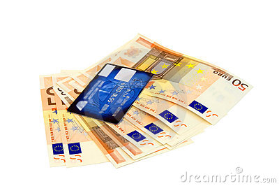 Euro banknotes and credit card