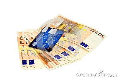 Euro banknotes and credit card
