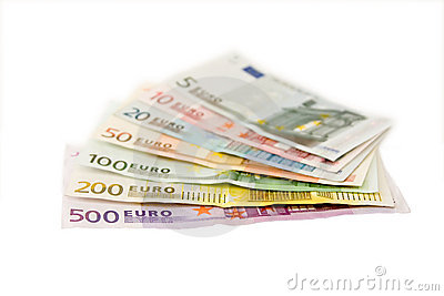 Euro banknotes from five up to five hundred
