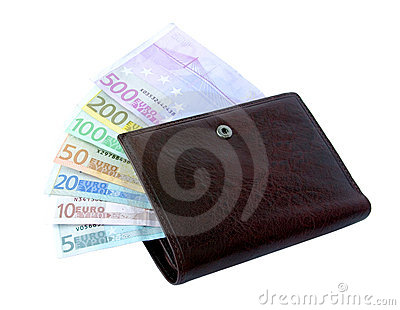 Euro banknotes from five up to five hundred in a purse