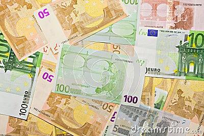 Euro banknotes, money background
