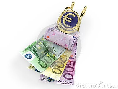 Euro banknotes in money clip