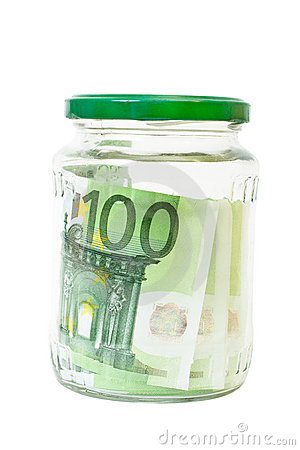 Euro banknotes savings in a jar