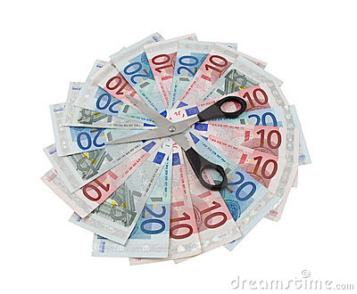 Euro Banknotes And Scissors Over White Stock Photography - Image: 14192842