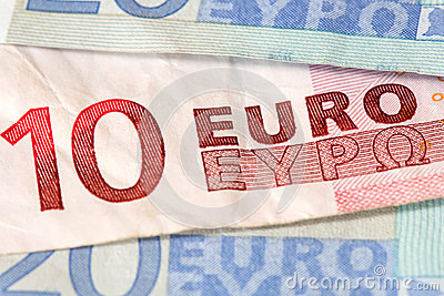 Euro banknotes with selective focus