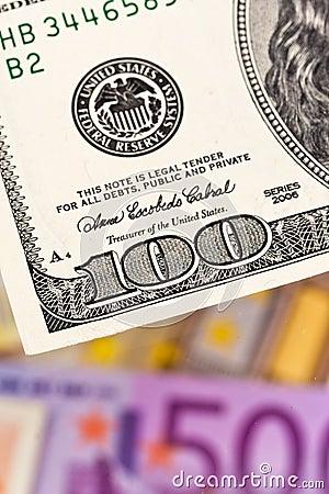 Euro banknotes and U.S.