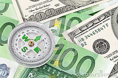 Euro banknotes and U.S. dollar