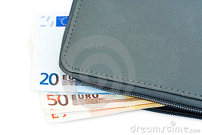 Euro banknotes in wallet