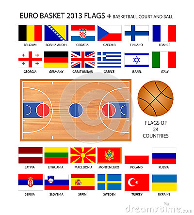 Euro Basket 2013 Flags Editorial Stock Image