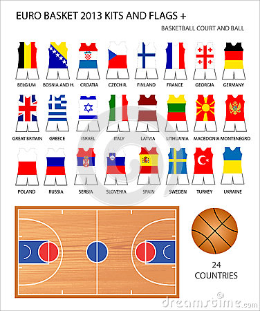 Euro Basket 2013 Kits and Flags Editorial Stock Image