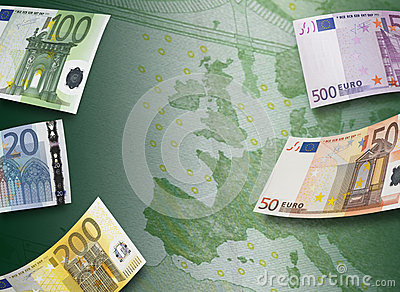 Euro Bill Collage And Europe Map Stock Photo - Image: 45081861