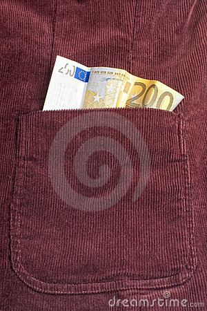 Euro bill inside pocket