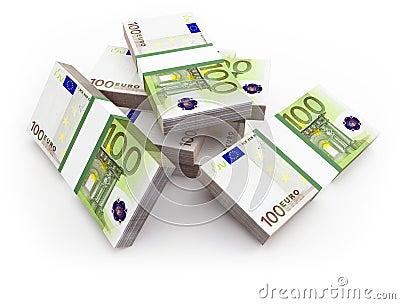 Euro bills. 3d.