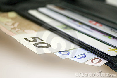 Euro bills and Credit cards