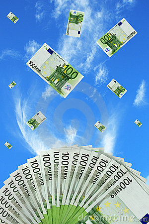 Euro bills falling in the sky