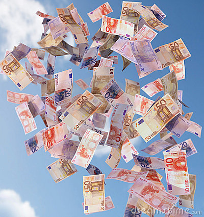 Euro bills flying in the sky