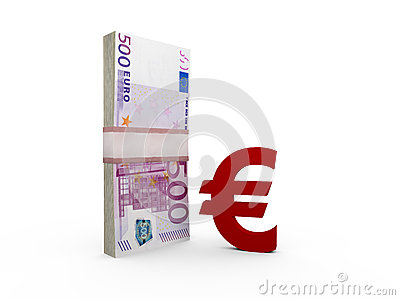 Euro Bills and Sign