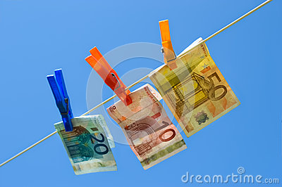 Euro bills on washing line
