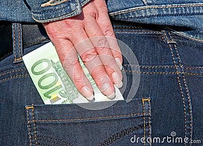 Euro- bluejeans da nota de banco