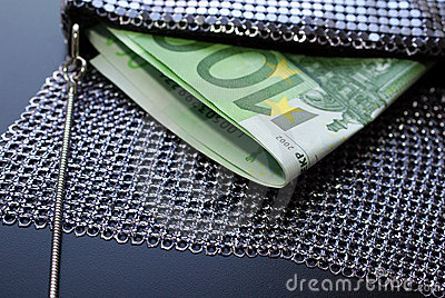 Euro Cash in Fancy Evening Bag